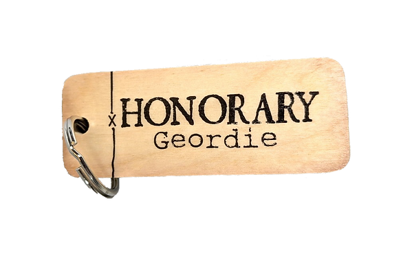 Honorary Geordie Rustic Wooden Keyring
