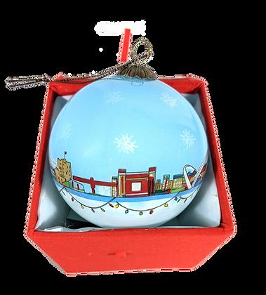 Christmas Tyneside Skyline Glass Bauble