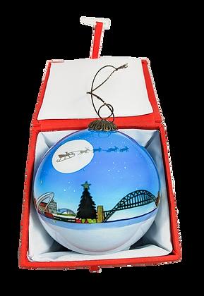 Santa Sleigh Tyneside Newcastle Gateshead Glass Bauble