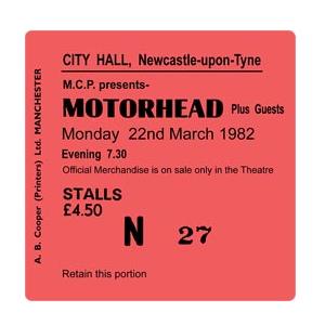 Motorhead City Hall Ticket Coaster