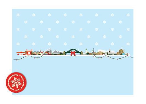 Newcastle Gateshead Skyline Christmas Cards (6 Pack)