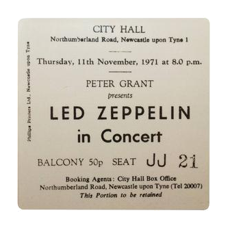 Led Zeppelin City Hall Ticket Coaster