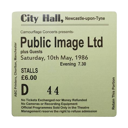 Public Image Ltd City Hall Ticket Coaster
