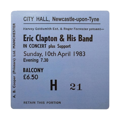 Eric Clapton City Hall Ticket Coaster