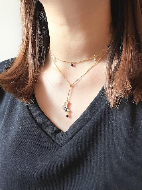 黑月雙鏈 Black Moon Necklace