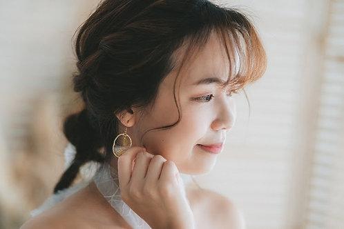 金箔浮花海浪耳環 Botanic Pumice Earing