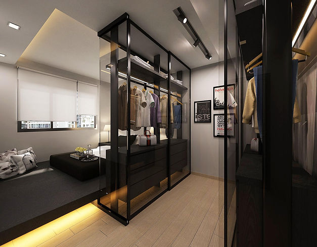 A glass-encased walk-in wardrobe entirely created within the bedroom.