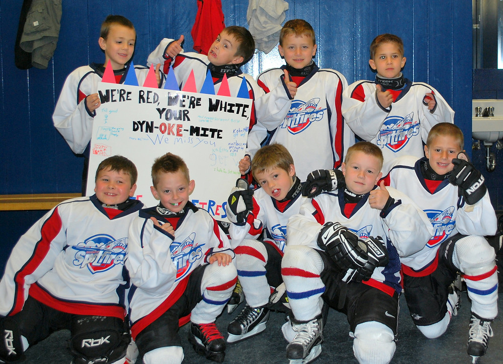 The Quinte Spitfires play for their coach. May, 2010.