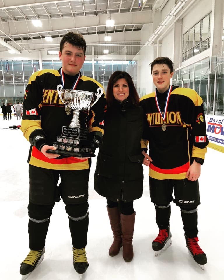 Theresa Bailey with her two sons, February 2019