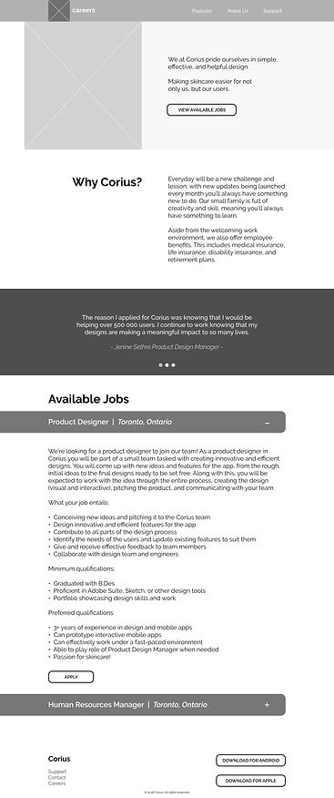 Corius Mid Fidelity Mockup Careers Page