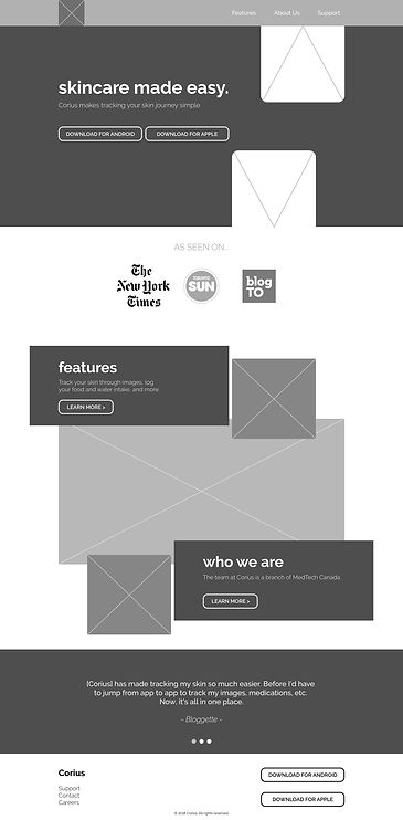 Corius Mid Fidelity Mockup Home Page