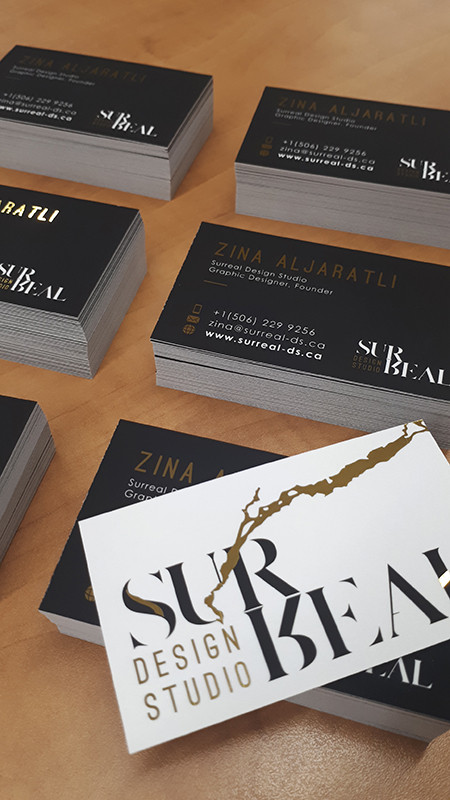 Foil Business card with Silk Lamination