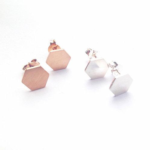 Oorstekers hexagon 8 mm mat