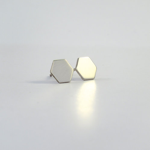 Oorstekers hexagon 10 mm glans
