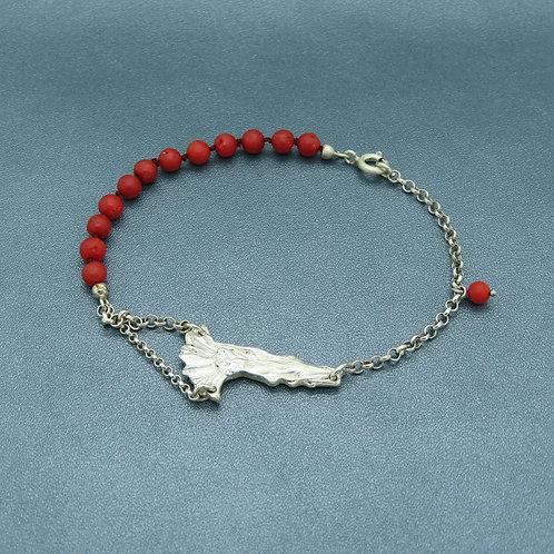 Lepeltjes armband zilver (925) met bloedkoraal
