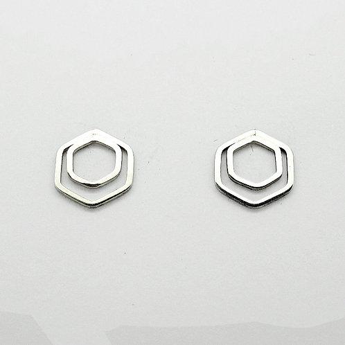 Oorstekers dubbel hexagon 8 mm