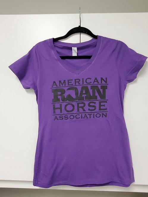 Ladies Purple V neck tee