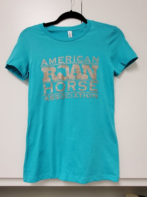 Ladies fit turquoise and bronze tee