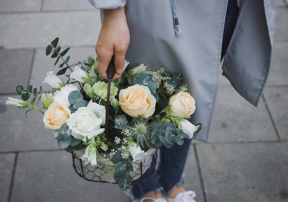 Panier de fleurs sechées