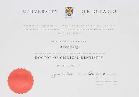 Doctor of Clinical Dentistry Degree Certificate for Dr. Austin Kang