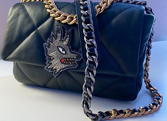 GOLD FANG Beaded Appliqué Wolf Handbag