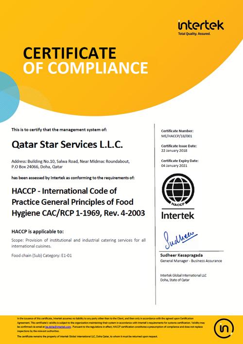 Qatar Star Services-HACCP