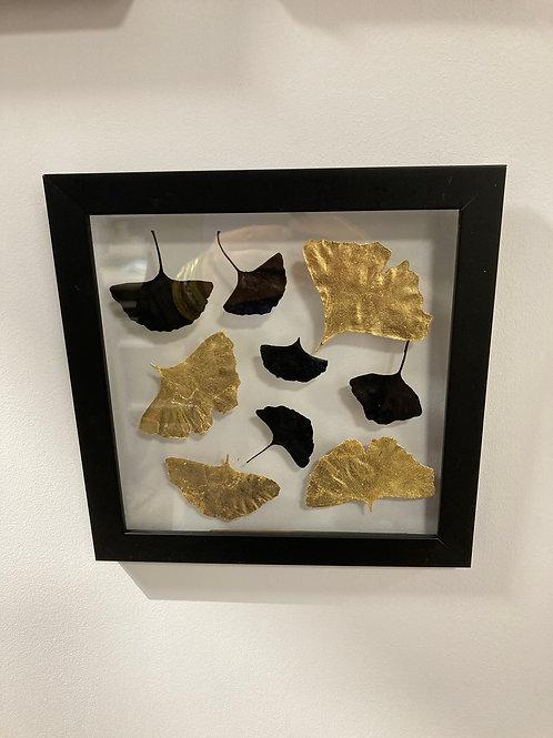 Cadre feuilles séchées gingko