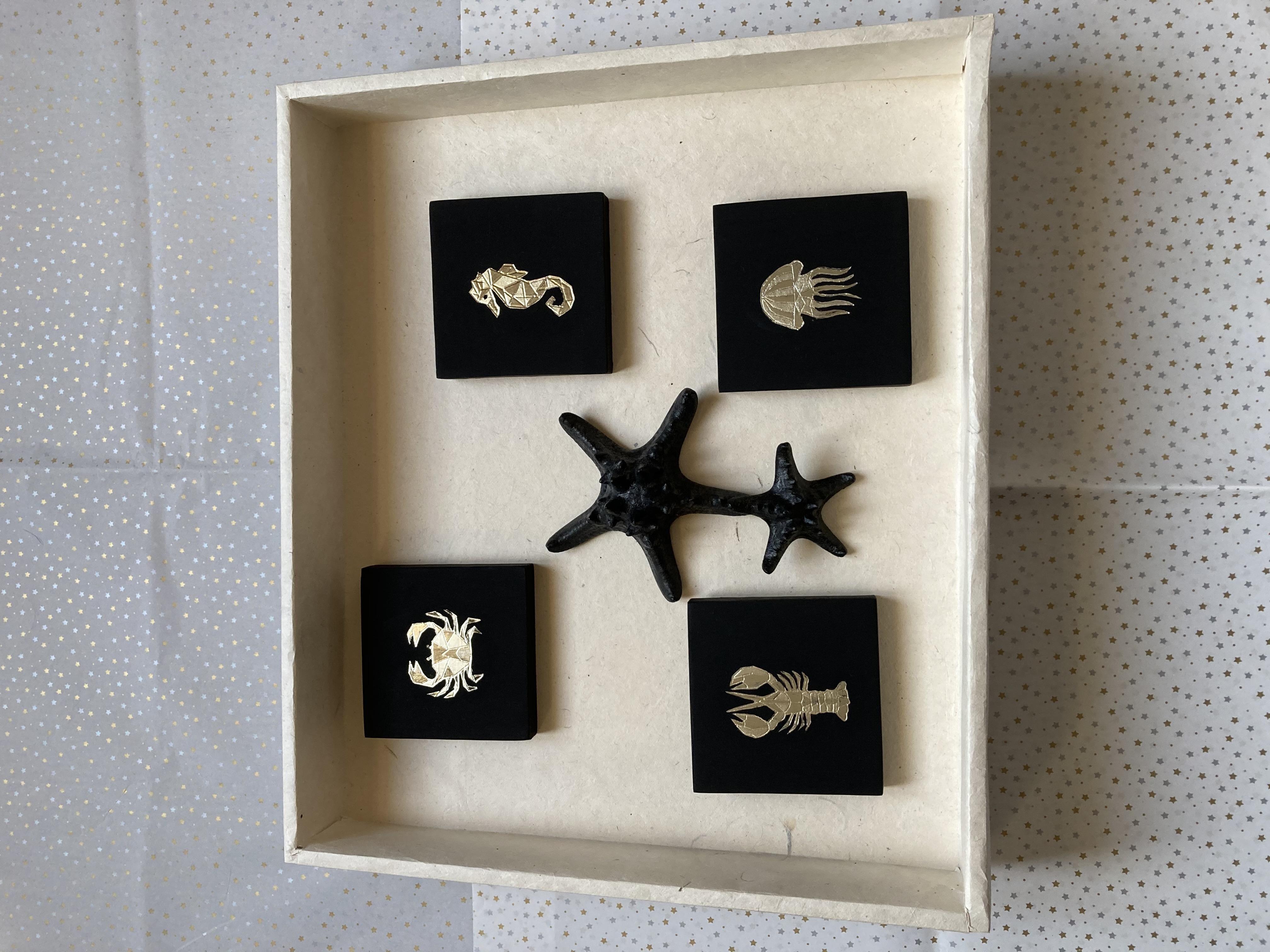 Cadres origami et crustacés