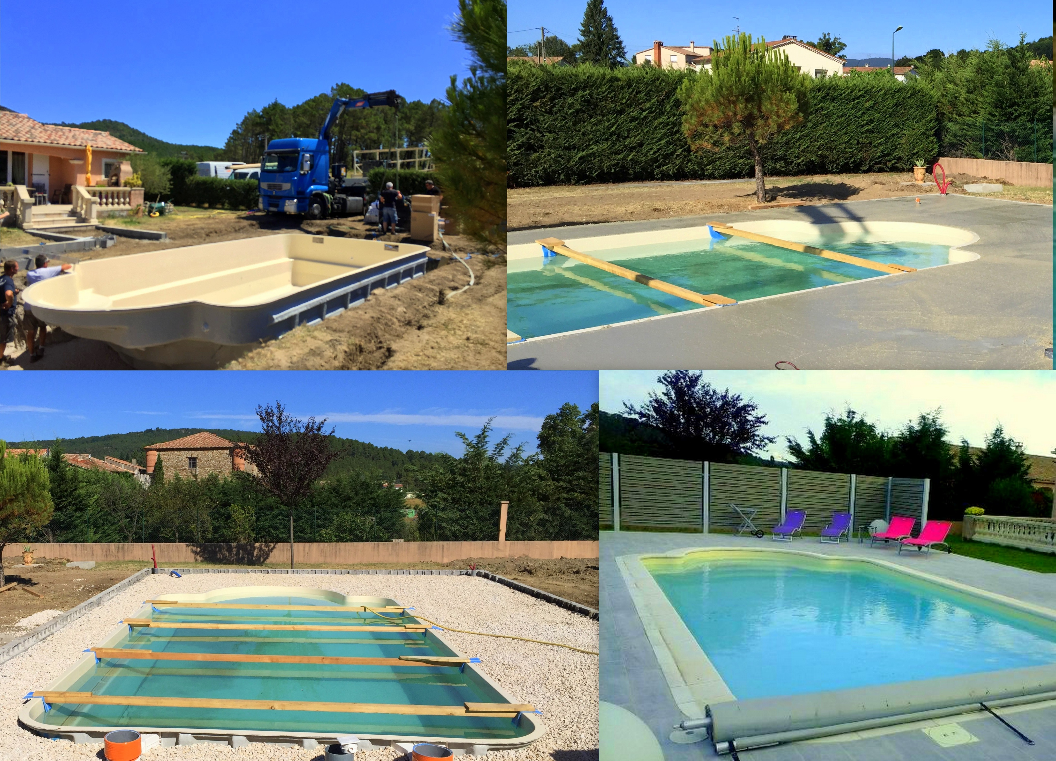 chantier , mise en place piscine