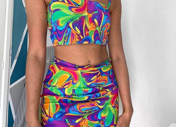 The tie strapped short boobtube & skirt set