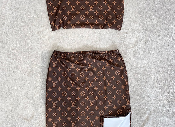 The short boobtube & side split mini skirt set