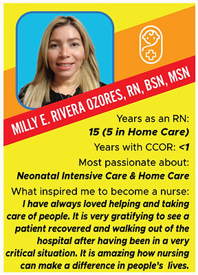 Nurse trading card with information about Milly Rivera ozores, RN, BSN, MSN
