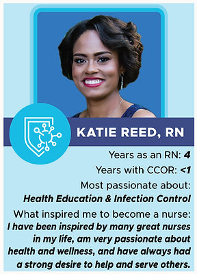 Nurse trading card with information about Katie Reed, RN