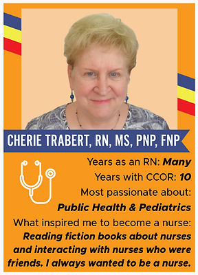Nurse trading card with information about Cherie Trabertm RN, MS, PNP, FNP