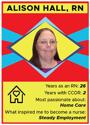 Nurse trading card with information about Alison Hall, RN