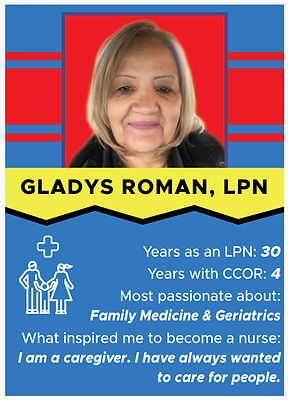Nurse trading card with information about Gladys Roman, LPN