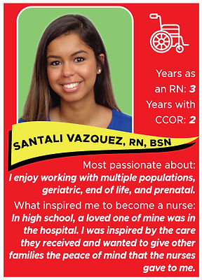 Nurse trading card with information about Santali Vazquez