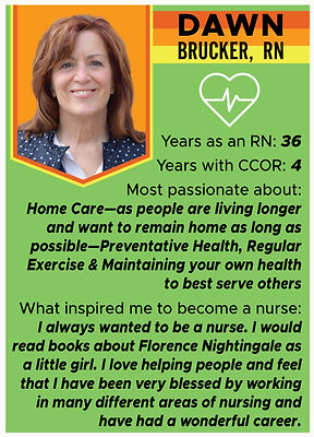Nurse trading card with information about Dawn Brucker, RN