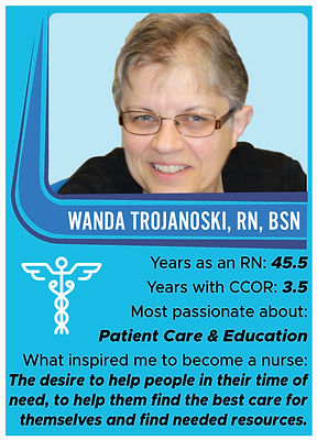 Nurse trading card with information about Wanda Trojanoski, RN, BSN