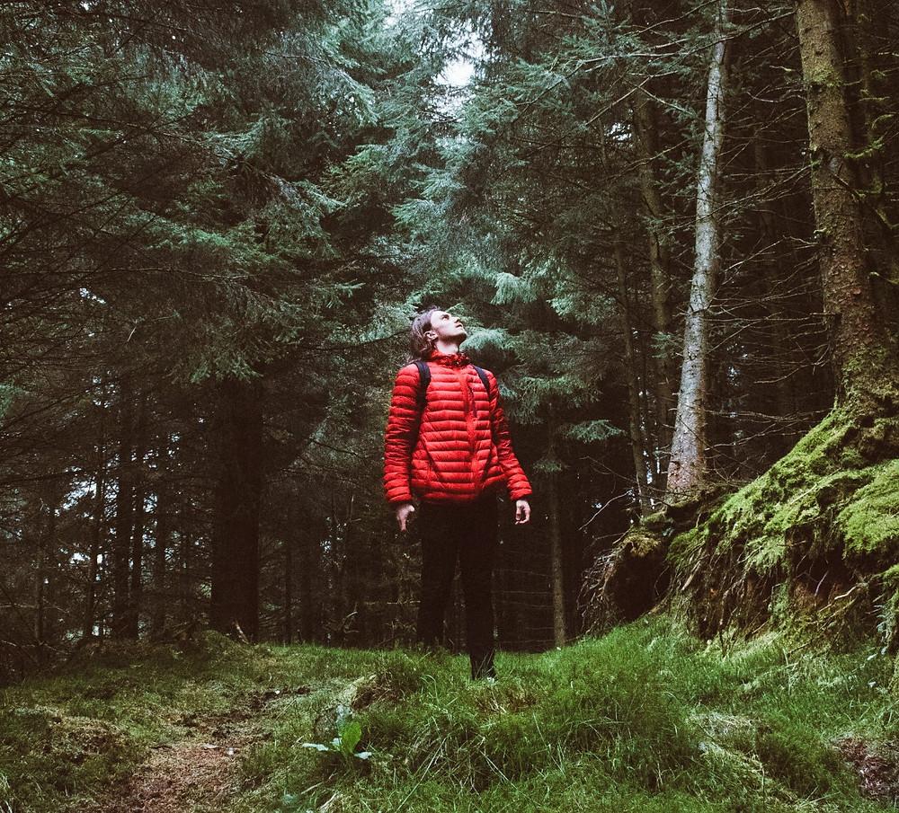 man hiking woods