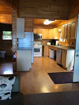 lakefront cabin kitchen view
