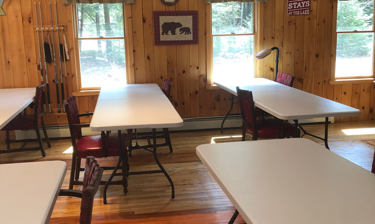 birch trail lodge with tables for workshop