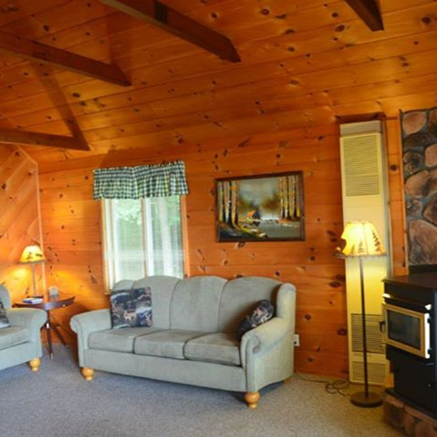 Wisconsin ice fishing cabin living room