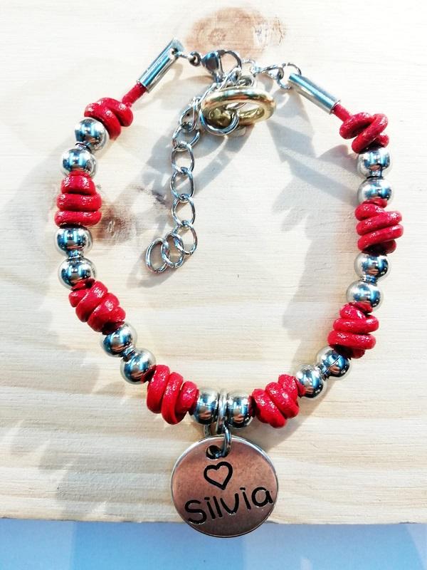 pulsera nudos acero rojo