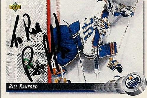 Bill Ranford Edmonton Oilers 92-93 UD Hand Signed Card