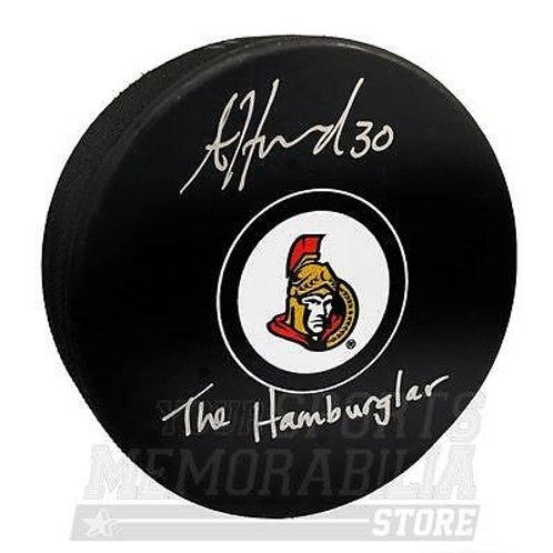 Andrew Hammond Ottawa Senators Signed Autographed The Hamburglar Inscribed Puck