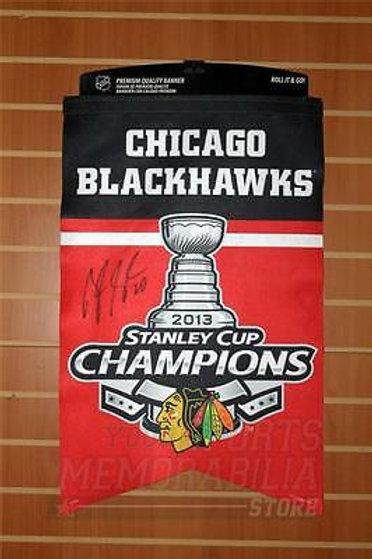 Brandon Saad Chicago Blackhawks signed Stanley cup champions premium felt banner