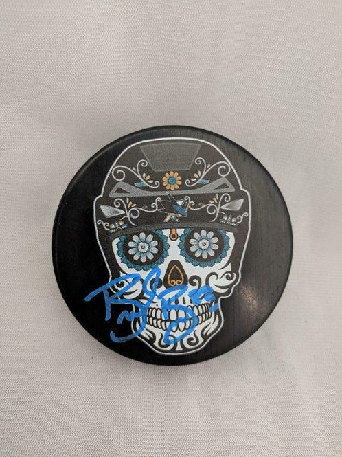 Brent Burns San Jose Sharks Signed Skull Logo Puck W/ Burns Authentic COA