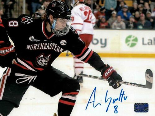 Adam Gaudette Vancouver Canucks signed Northeastern Goal 8x10 HB
