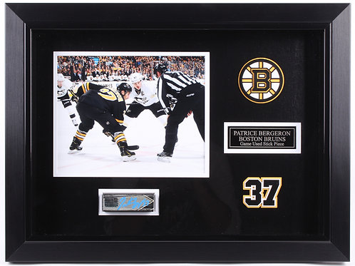 Patrice Bergeron Boston Bruins Signed Game Used Stick Piece Frame Display A